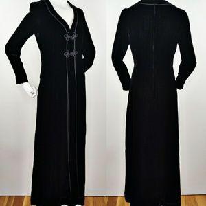 Vintage Black Velvet Cord Trim Hostess Dress S/M